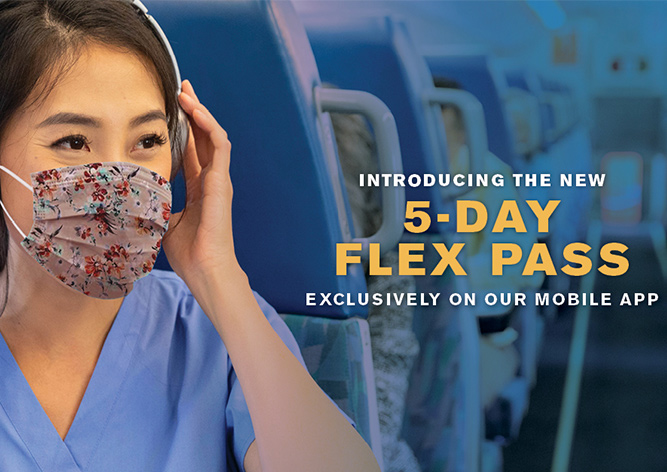 Introducing the new 5-day flex pass - exclusively on our mobile app