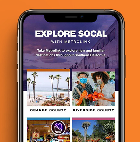 Screenshot from Explore SoCal with Metrolink website