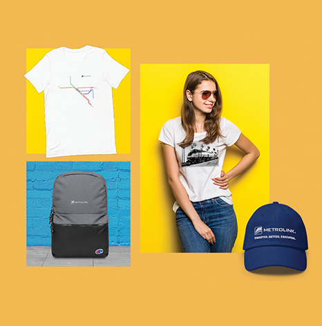 Selection of new Metrolink branded merchandise - t-shirts, backpack, and hat