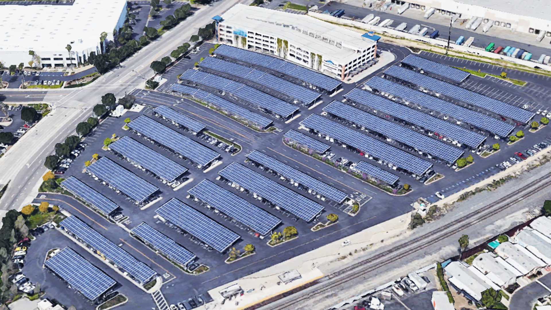 Solar Panel in City of Industry Train Station Parking Lot