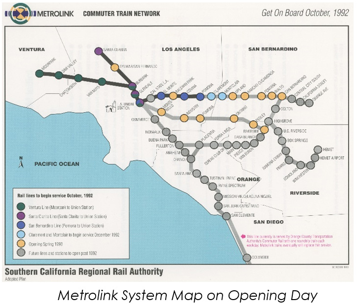Metrolink system map on opening day