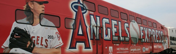 Angels Express Advertisement on the exterior of a Metrolink Train