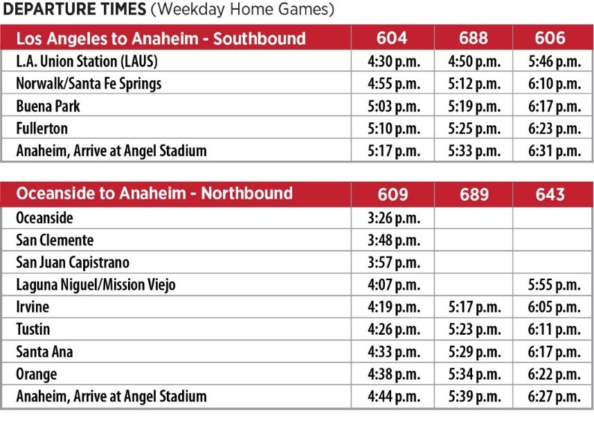 Angels Express Departure Times