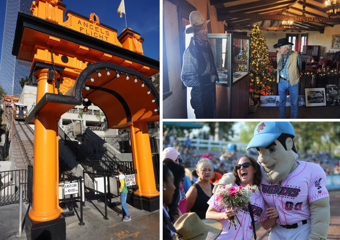 Picture of Angels Flight, Inland Empire 66ers Mascot and John Wayne in Newhall museum