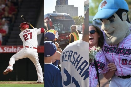 Picture of Mike Trout from the Los Angeles Angels, man waiting for Dodgers Express Bus and woman with Inland Empire 66ers mascot