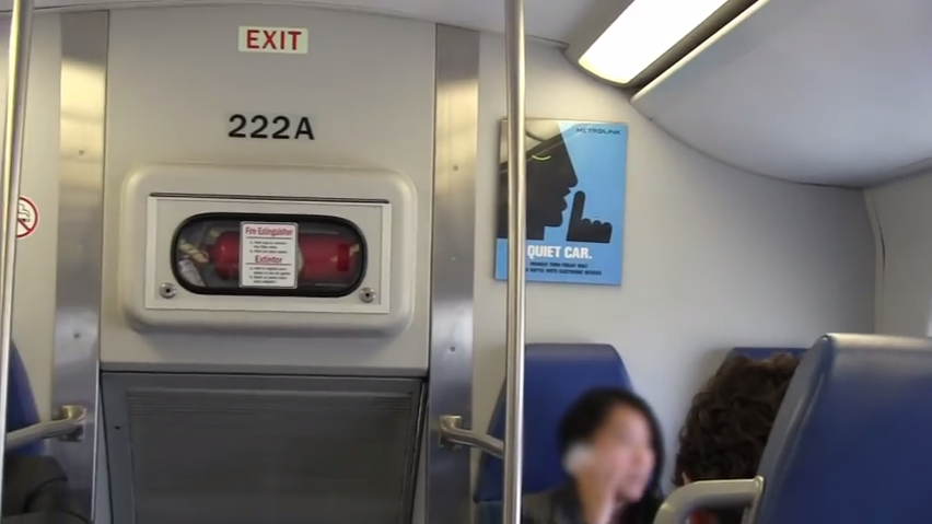 The following video contains footage of a Metrolink passenger exhibiting poor Quiet Car etiquette.