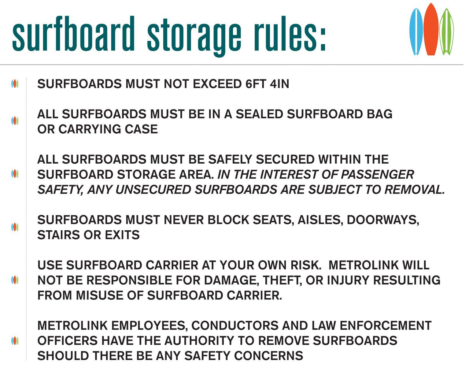 Surfboard Storage Rules