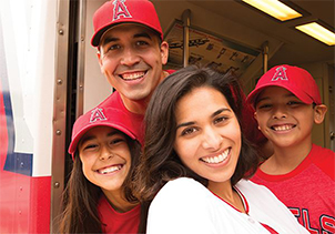 Family attending Angels game