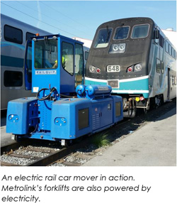 An electric rail car mover in action. Metrolinks forklifts are also powered by electricity.
