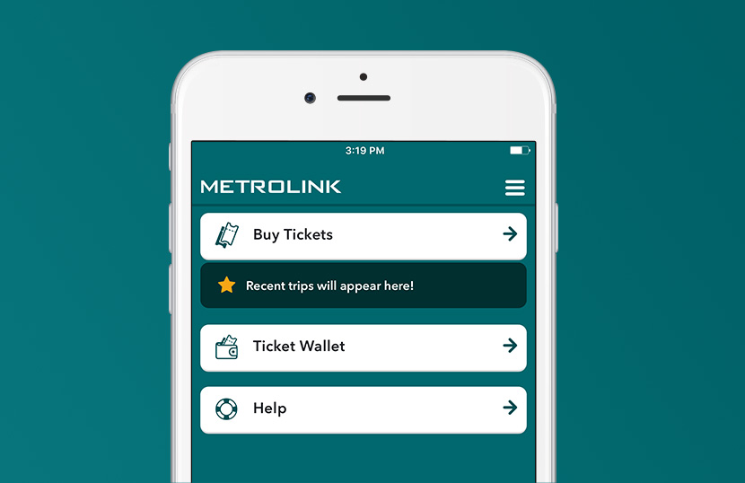 Metrolink Mobile App Home Screen