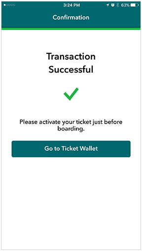 Metrolink App Confirmation Screen