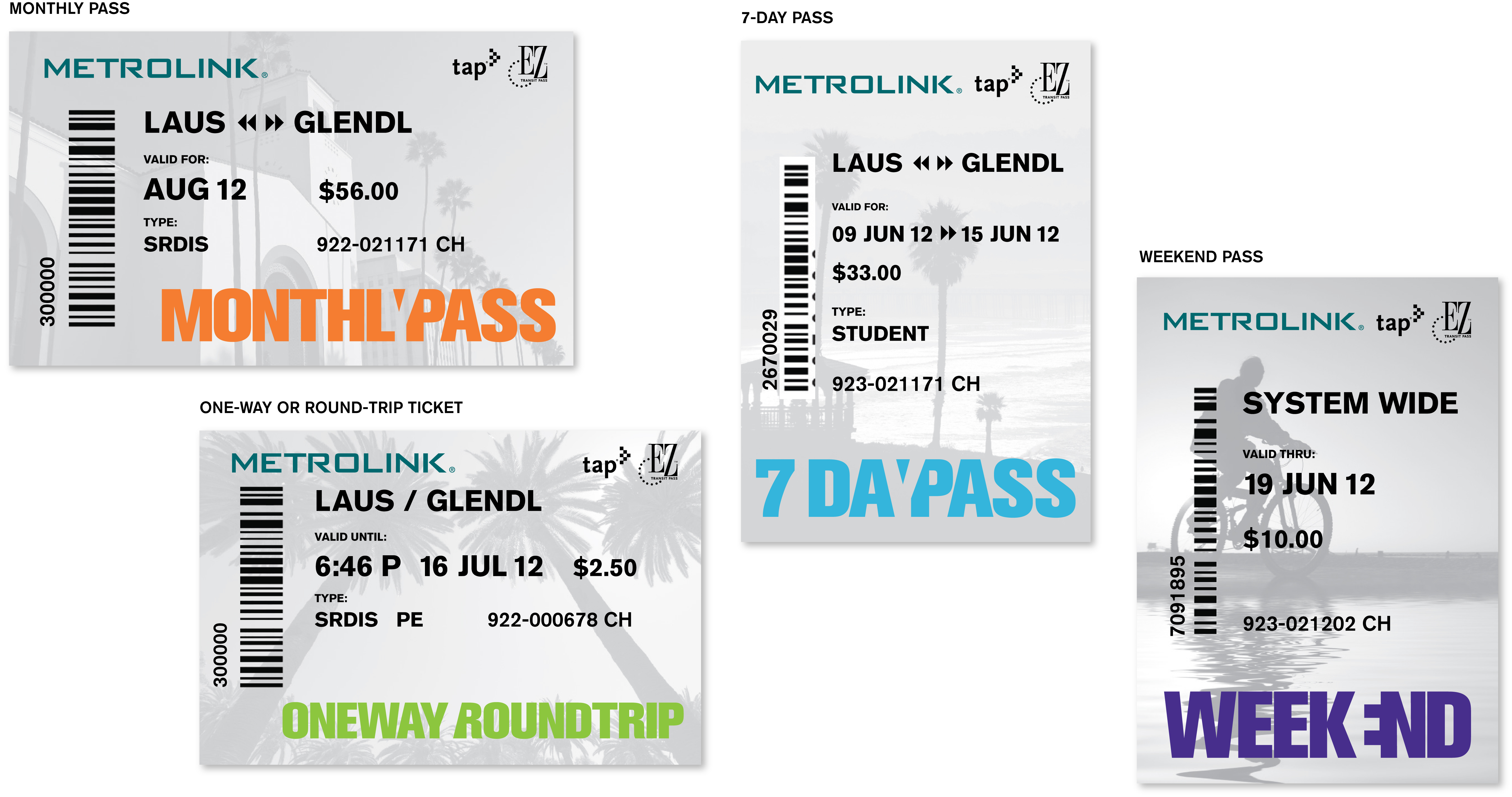 Monthly Pass, One way or Round Trip, 7-Day and Weekend Pass with the Tap logo in the upper left hand corner